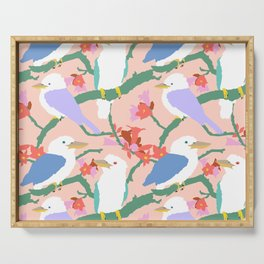 Kookaburra Birds + Little Kurrajong Flowers Serving Tray
