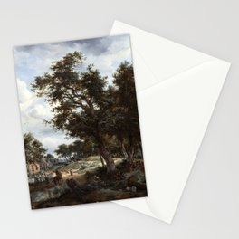 Meindert Hobbema and Abraham Storck A Wooded Landscape with Travelers on a Path through a Hamlet Stationery Cards