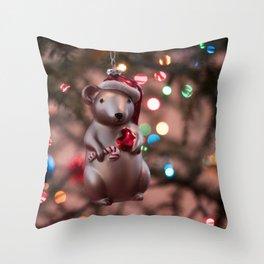 Christmas Mouse Photography Print Throw Pillow