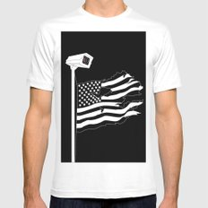 And the star-spangled banner in triumph shall wave White Mens Fitted Tee MEDIUM