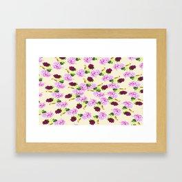 Spiral Pink Hydrangea Red Peony Wren Pattern Framed Art Print