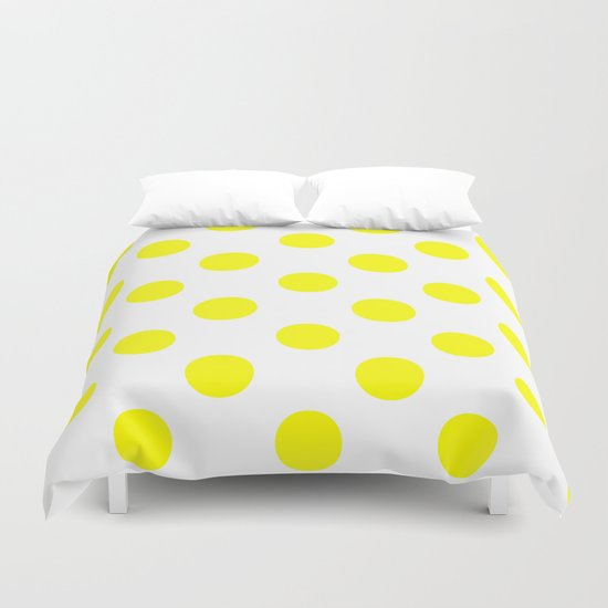 Polka Dots (Yellow/White) Duvet Cover