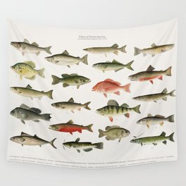 Illustrated Denton Fish Chart of Fishes of North America Wall Tapestry