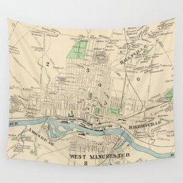 Vintage Map of Manchester NH (1892) Wall Tapestry
