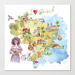 Brasil Map Canvas Print