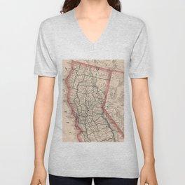 Vintage Map of Northern California (1883) Unisex V-Neck