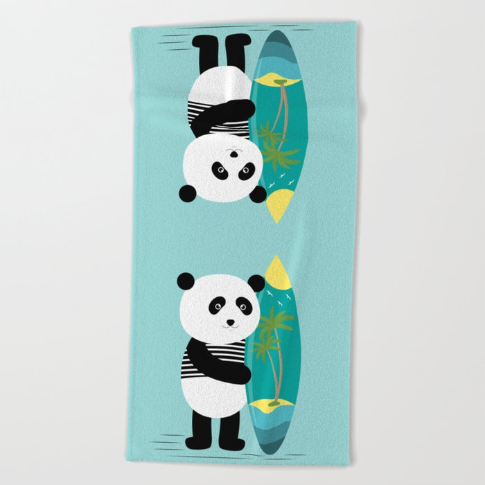 Surf along with the panda. Beach Towel