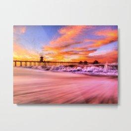 Dawn High Tide Huntington Beach Pier Metal Print