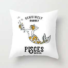 """Pisces: Genuinely Bubbly Bath Co."" Zodiac-Inspired Art  Throw Pillow"