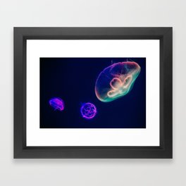 Bioluminescent Neon Jellyfish Framed Art Print
