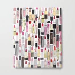 Lipsticks Makeup Collection Illustration Metal Print