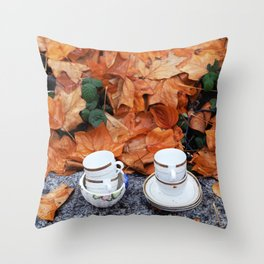 Teacups in the rain in Vancouver Throw Pillow