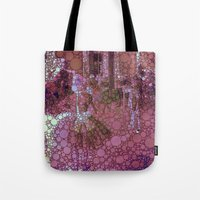 degas Tote Bags featuring technicolor ballet class by MonicaKay