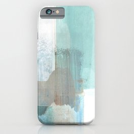 Glacial - Turqoise Blue and Brown Abstract Watercolor Painting iPhone Case