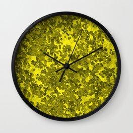 Yellow Hybrid Camo Pattern Wall Clock