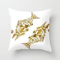 cyberpunk Throw Pillows featuring Cyberpunk fish by Oceloti