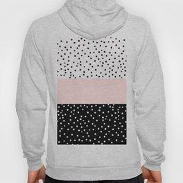 Pink white black watercolor polka dots Hoody