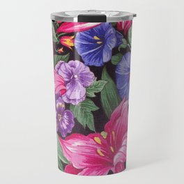 Large Pink and Purple Flowers with Green Leaves Travel Mug