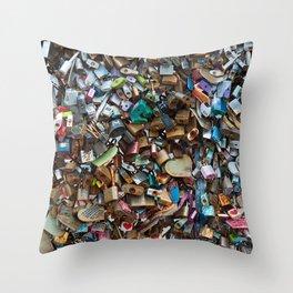 Wall of Love Locks Throw Pillow