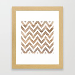 woodgrain cheveron Framed Art Print