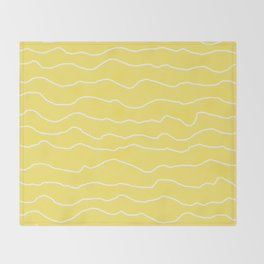 Yellow with White Squiggly Lines Throw Blanket
