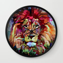 Colorful Lion Painting Wall Clock