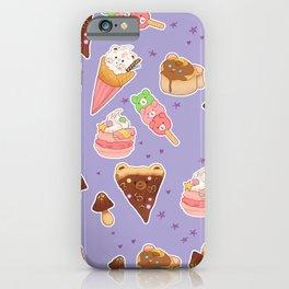 Kawaii food on purple iPhone Case