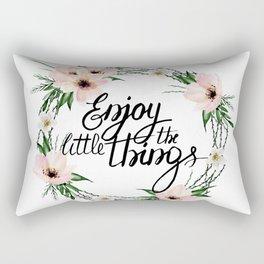 Enjoy the little things. Watercolor wreath Rectangular Pillow