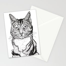 Cat line drawing portrait black and white illustration Stationery Cards