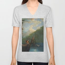 Old Man in the Mountain, White Mountains, New Hampshire landscape painting by Thomas Hill Unisex V-Neck