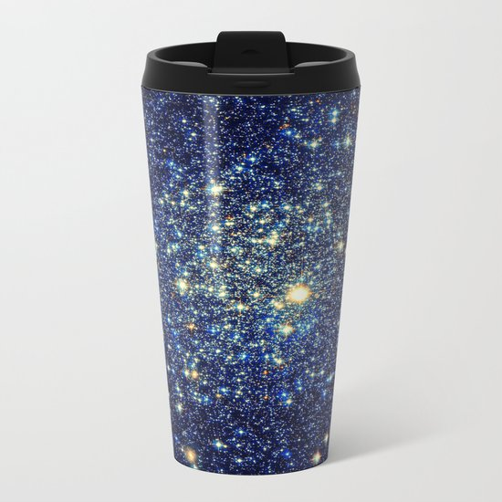 galaxY Stars : Midnight Blue & Gold Metal Travel Mug