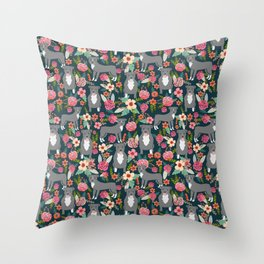 Pit Bull Terrier florals must have dog art pet friendly gifts for pit bull owners cute illustration  Throw Pillow