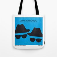 blues brothers Tote Bags featuring No012 My Blues brothers minimal movie poster by Chungkong
