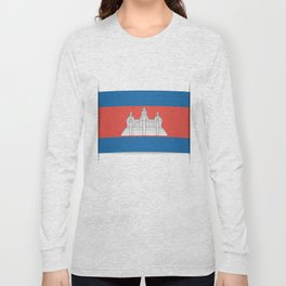 Flag of Cambodia.  The slit in the paper with shadows.  Long Sleeve T-shirt