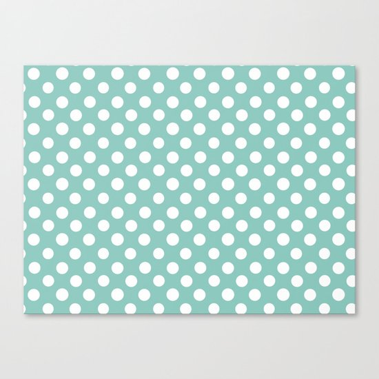 Beautiful HOME- Girls just wanna have dots - turquoise Canvas Print