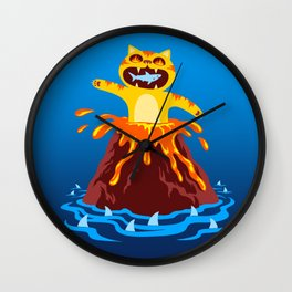 Volcano Cat Wall Clock