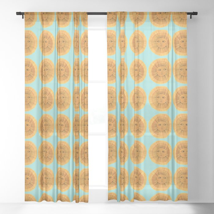 Sun Drawing Gold and Blue Sheer Curtain