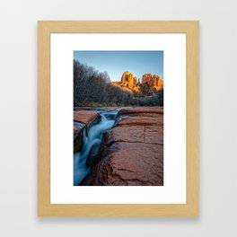 CATHEDRAL ROCK SEDONA PHOTO - ARIZONA SUNSET IMAGE - LANDSCAPE NATURE PHOTOGRAPHY Framed Art Print