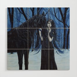 Midnight Travelers Gothic Fairy and Unicorn Wood Wall Art