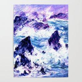 Monet : Storm At Belle Ile Vibrant Poster