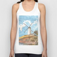 Windmill Against a Blue Sky Unisex Tank Top