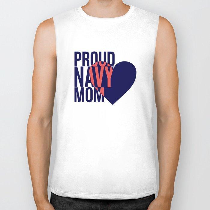 Proud Navy Mom Biker Tank