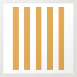 Sunray brown - solid color - white vertical lines pattern Art Print