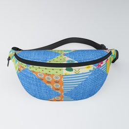 Jean and colorful patchwork print Fanny Pack