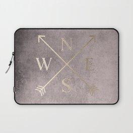 Gold on Pink Blush Distressed Compass Adventure Design Laptop Sleeve