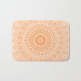 Orange Tangerine Mandala Detailed Textured Minimal Minimalistic Bath Mat