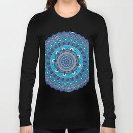 Blue Mandala Art Long Sleeve T-shirt