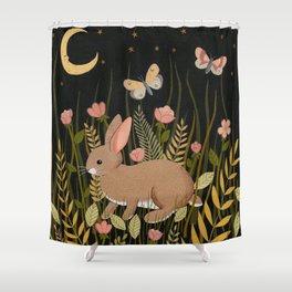 midnight rabbit Shower Curtain