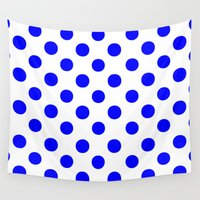 polkadot Wall Tapestries featuring Polka Dots (Blue/White) by 10813 Apparel