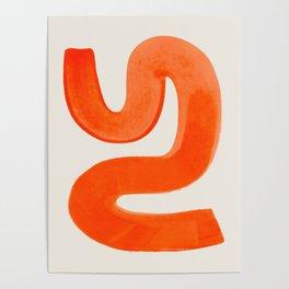Mid Century Modern Abstract Minimalist Abstract Vintage Retro Orange Watercolor Brush Strokes Poster